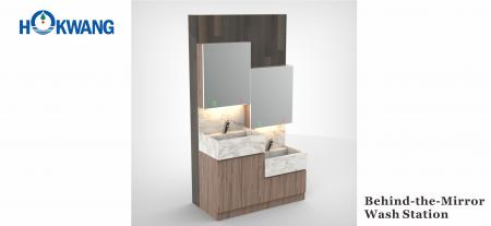 Mirror Cabinet Auto Wash Station - Behind mirror hand dryer, soap dispenser, faucet