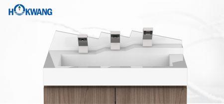 Automatikus kézmosó állomás - félszigeti kézszárító, szappanadagoló és csaptelep