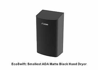 O menor secador de mãos preto fosco ADA