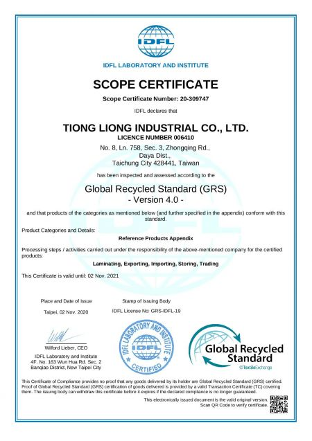 Certificat Global Recycled Standard (GRS) 4.0