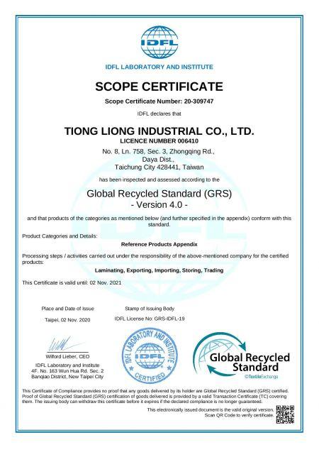 Global Recycled Standard (GRS) 4.0-Zertifikat
