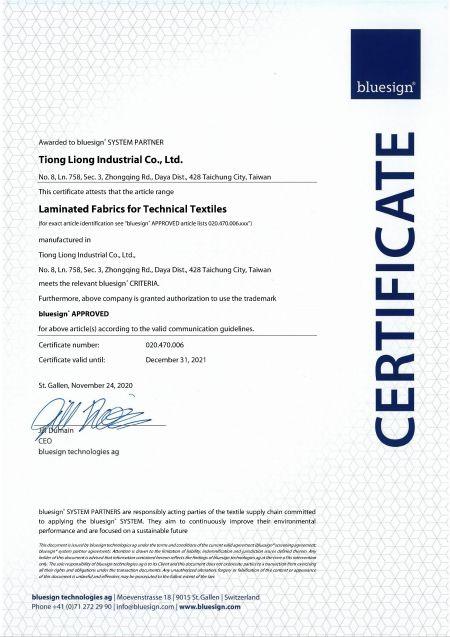 Certificat bluesign® SYSTEM PARTNER