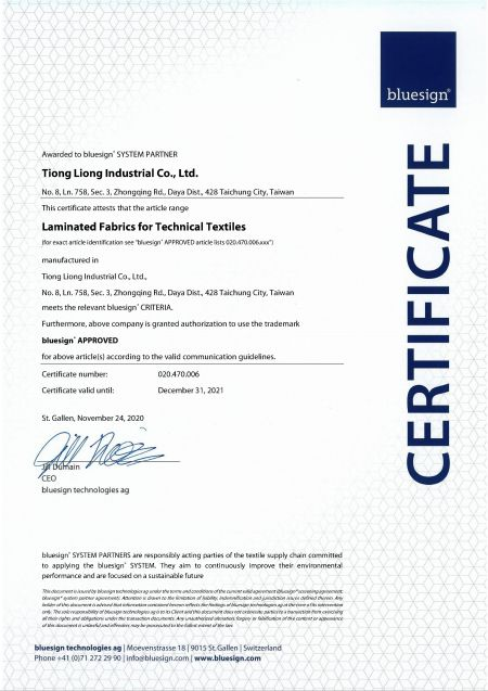 bluesign® SYSTEM PARTNER Certificate