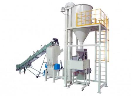 ゴム/プラスチック、熱溶接着性材料粉砕充填包装システム