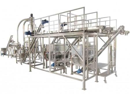 Broyage d'épices, mélange, chauffage, refroidissement (azote liquide) et système d'emballage