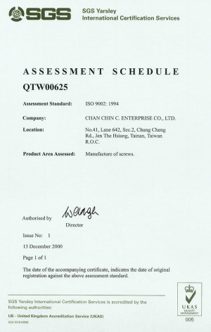 ISO 9002 : 1994, Product Area Assessed : Manufacture of Screws.