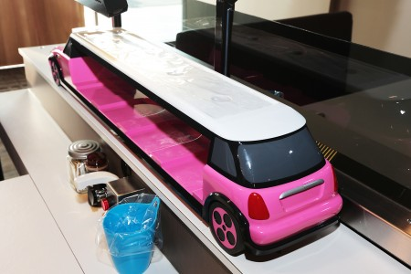 Pink color Mini Cooper Delivery car details
