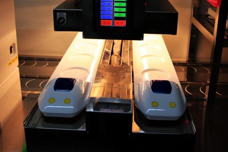 Shinkansen Express Train Automatic Delivery System waits in kitchen
