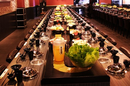 Sushi Chain Conveyor Single Deck Styles uses in hot pot restaurant