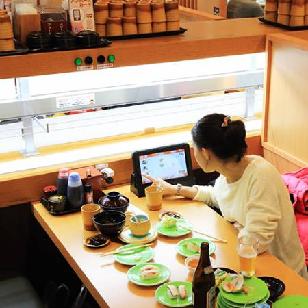 With the technological system make the customer feel comfotable in Kintarosumoto Sushi.