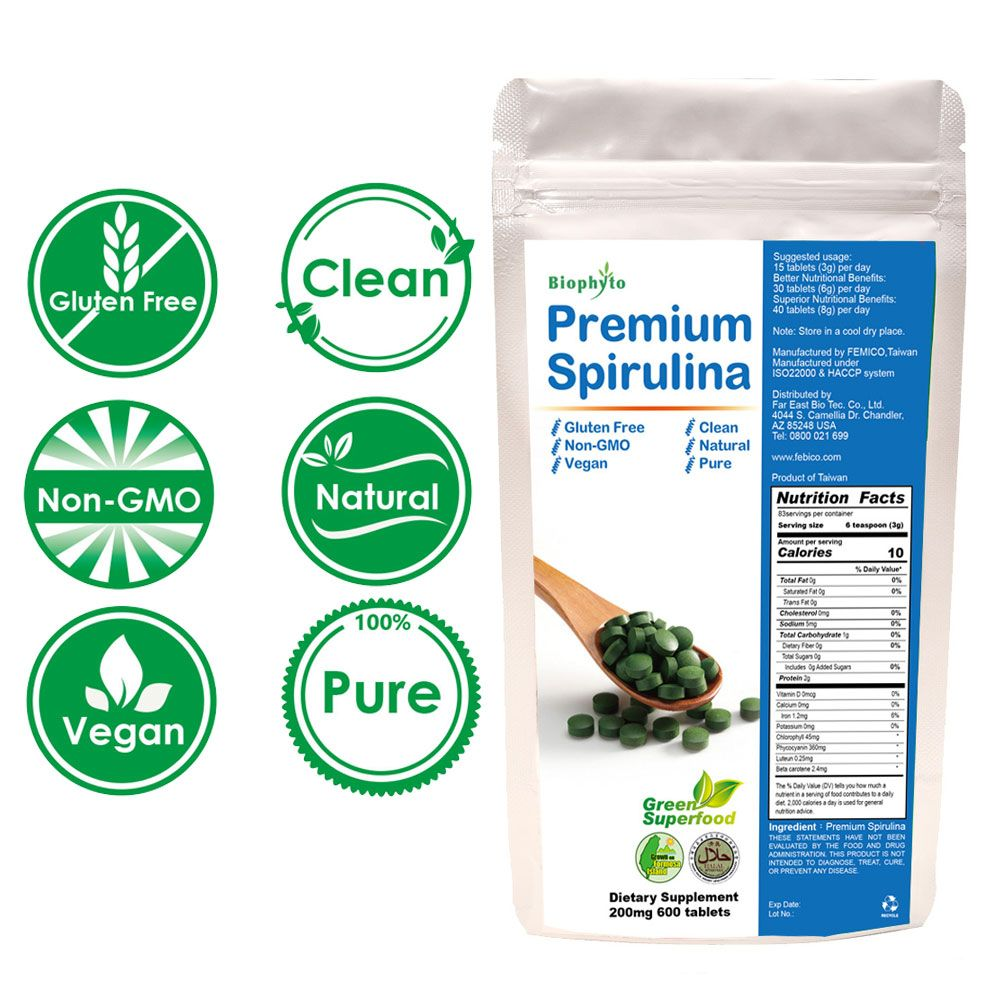 Biophyto® Premium      Spirulina Compresse - Naturale      Spirulina Compresse