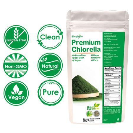 Biophyto® Premium proszek chlorelli - Tajwański proszek chlorelli z łamaną ścianą komórkową