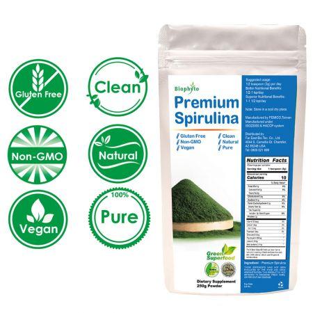 Biophyto® Premium      Spirulina Polvere - Taiwan      Spirulina polvere
