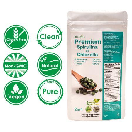 Biophyto® Premium 50/50 Spirulina clorella Compresse miste - Premium 50/50 Spirulina clorella mescolare