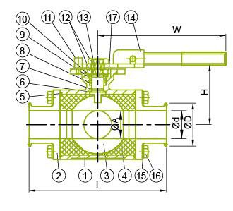 Válvula de bola sanitaria de 3 vías para uso alimentario y químico con placa de montaje ISO