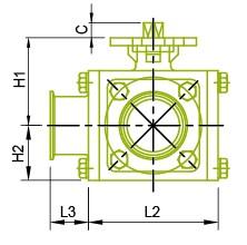 Vista lateral: válvula de bola sanitaria de 3 vías