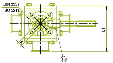 Vista superior: válvula de bola sanitaria de 3 vías