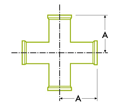 스트레이트 크로스-위생 클램프 조인트