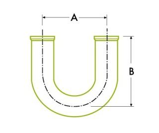 衛生的 クランプ ジョイント:180ºリターン 溶接式ベンド