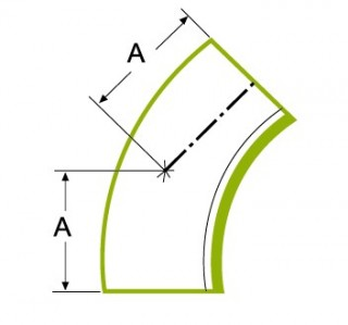 45°ロングチューブ 溶接式ベンド 1.5D
