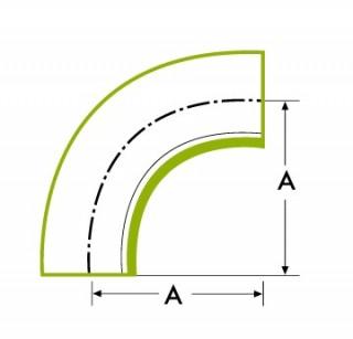 90°ロングチューブ 溶接式ベンド 1D