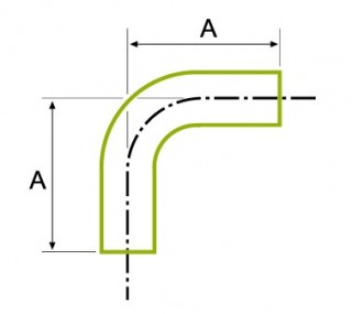 90°ロングチューブ 溶接式ベンド 1.5D ISO