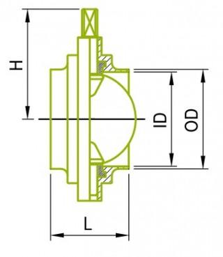 インチサイズの溶接バタフライバルブ