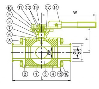 위생 3 방향 볼 밸브