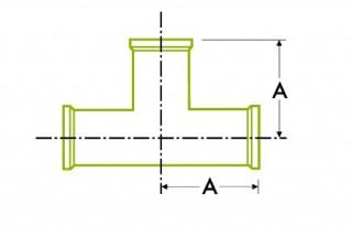 مفصل المشبك الصحي: مستقيم على شكل حرف T / صليب مستقيم