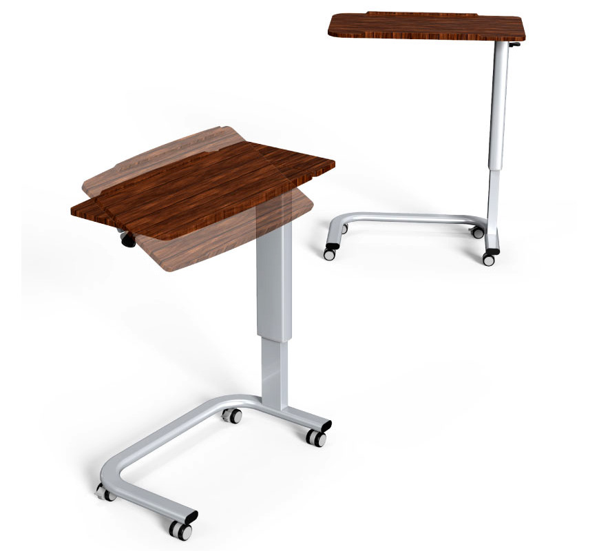 Medical overbed table on castors with tilt-top design.