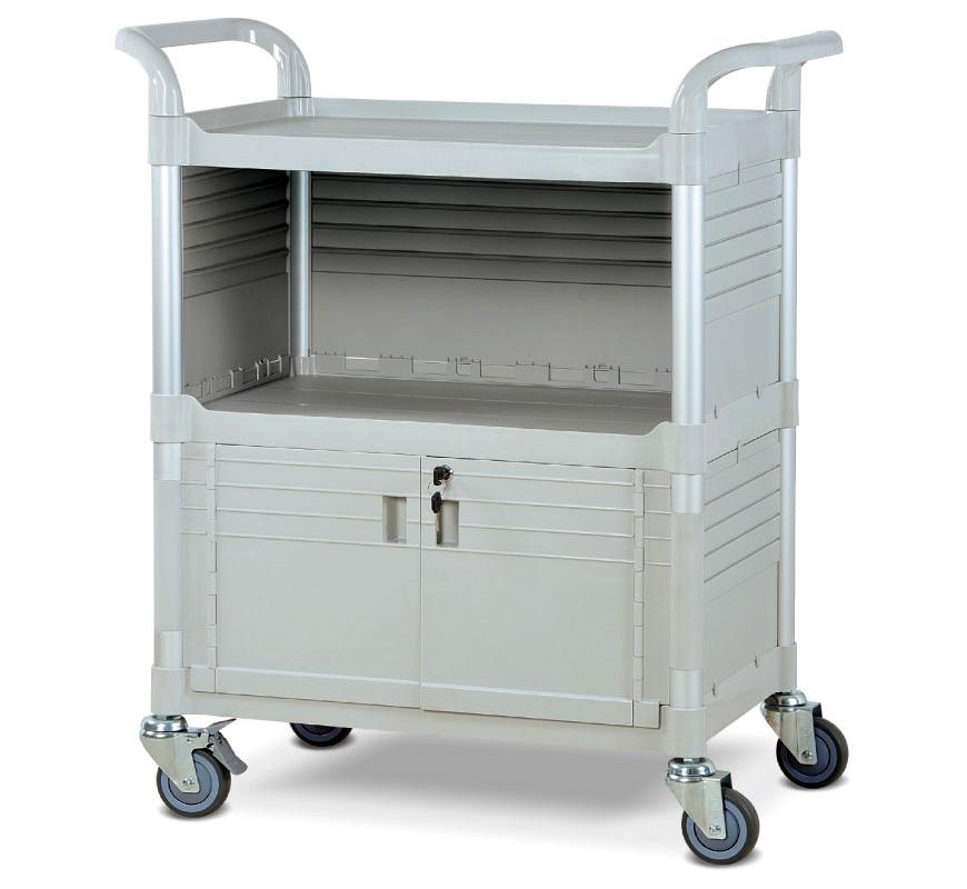 Versatile Lightweight Transport Cart with Enclosed Shelving.