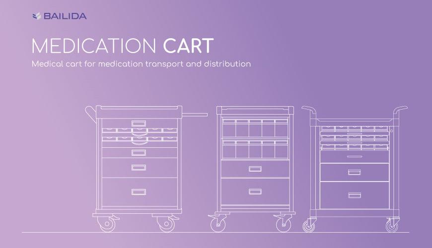 Medical cart for medication transport and distribution.
