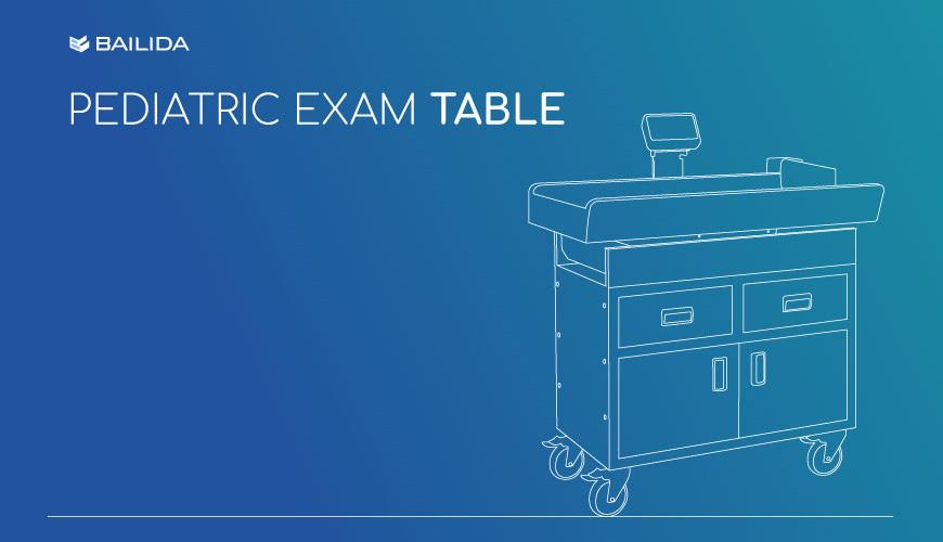 Mesa de exame pediátrico.