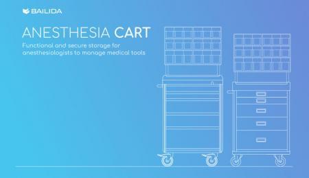 Carro de anestesia - Almacenamiento funcional y seguro para que los anestesiólogos administren herramientas médicas.