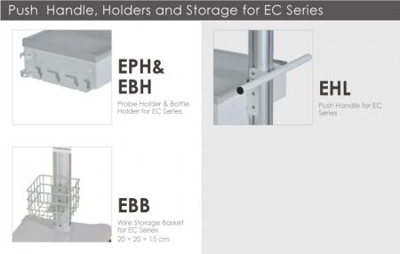 Push Handle, Holders and Storage for EC Series.