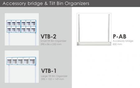 Organizadores de contenedores inclinables y puente para accesorios.