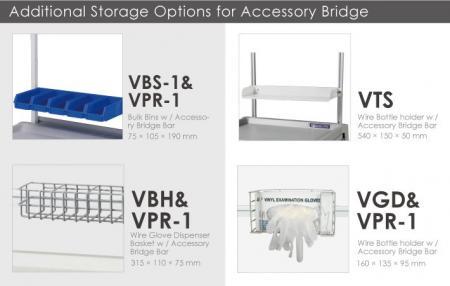 Opciones de almacenamiento adicionales para el puente accesorio.