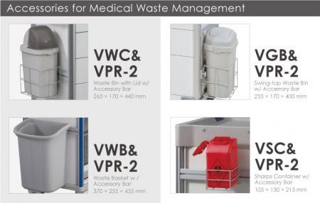 Accesorios para la gestión de residuos médicos.