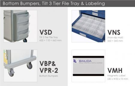 Bottom Bumpers, Tilt 3 Tier File Tray & Labeling.