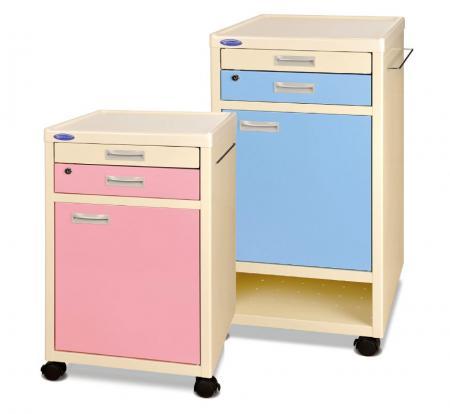 Classic Bedside Cabinet Table on Castors Pink / Blue - Classic Bedside Cabinet on Castors.