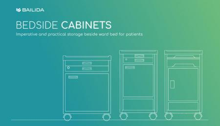 Bedside Cabinets - Practical storage equipment for patients in hospital.