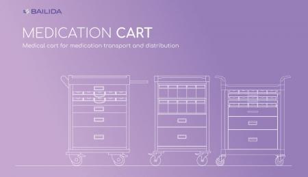 Medication Cart - Medical cart for medication transport and distribution.