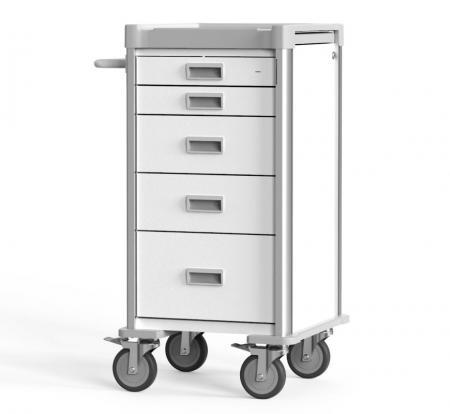 Carro de procedimiento compacto para espacios estrechos (Serie NC) - Carro de emergencia compacto altamente personalizable.