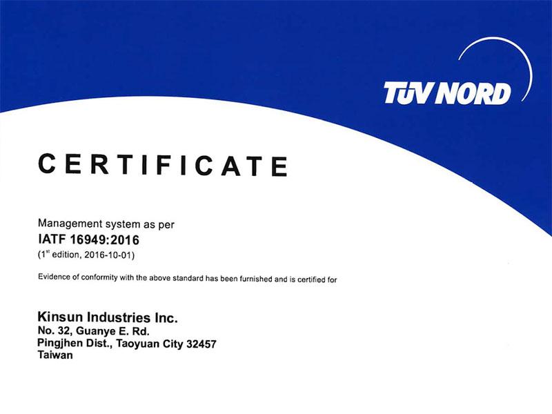 Chứng chỉ đã đăng ký IATF-16949