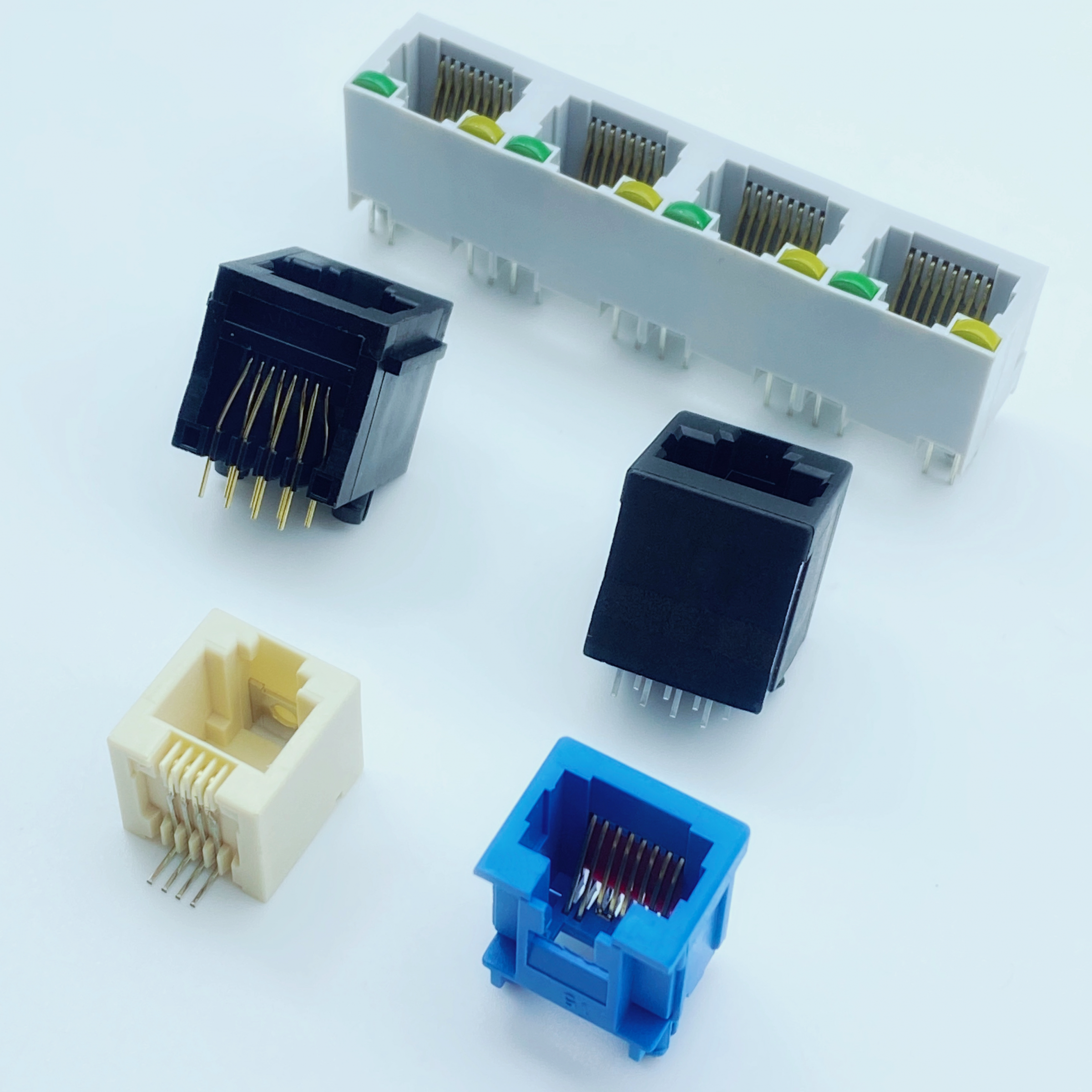 Modular Jack Plug with RJ45 / 12 / 11 Type PCB.