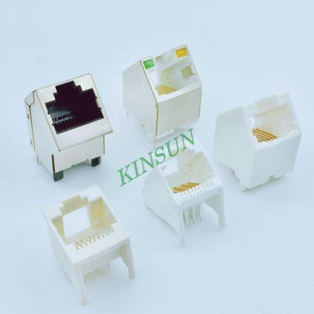 斜插式PCB型通訊插座 - PCB-Mount 45&70 Degree RJ Jack