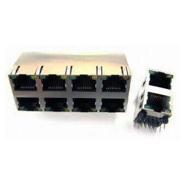 Giắc cắm PCB cấp đôi Chân tròn với đèn LED - Giắc cắm PCB cấp đôi