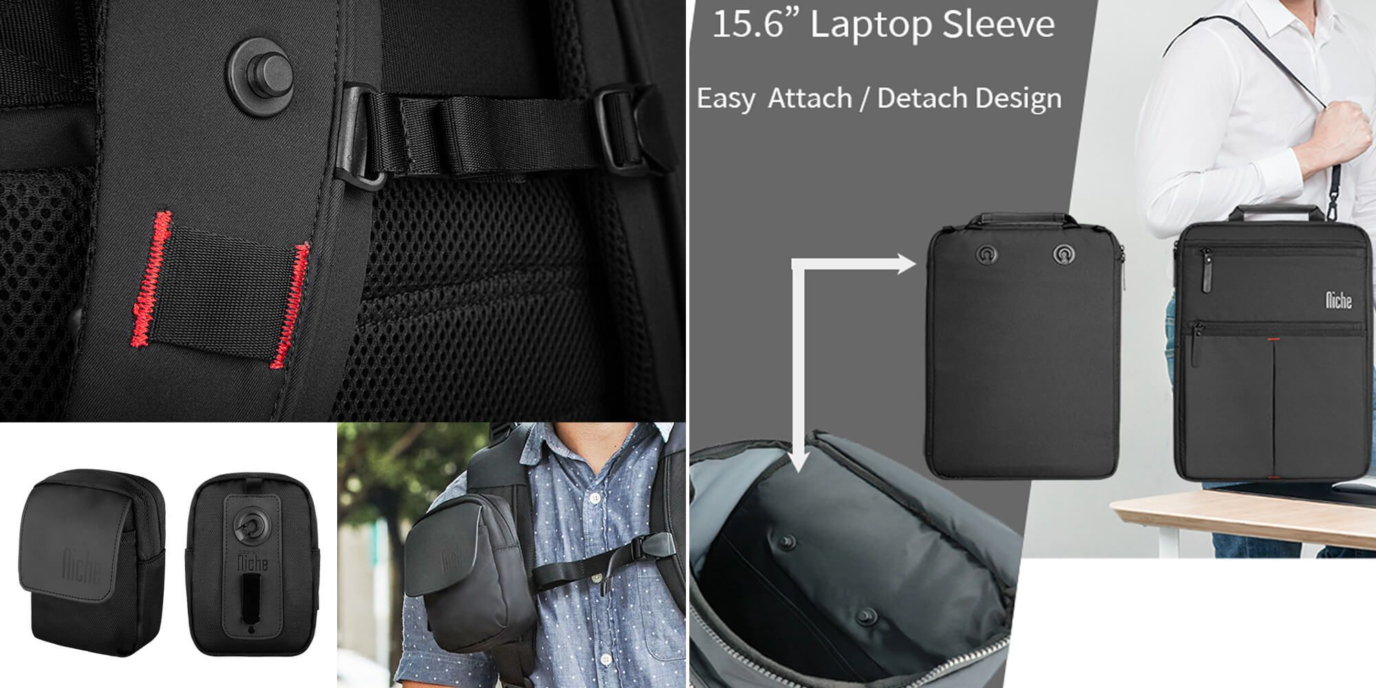Laptop Backpack with patented magnetic attachment system