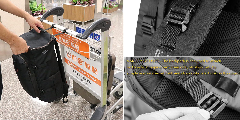 Backpack has Smart Hook Straps