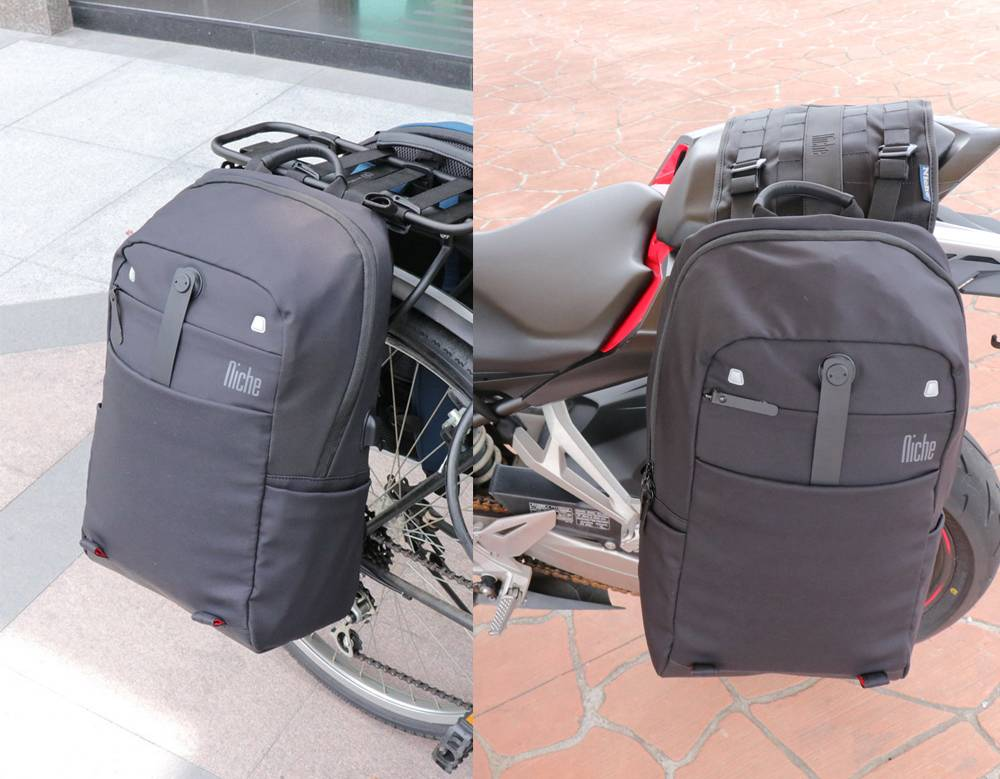 Niche backpack with special hook for motorcycle riders